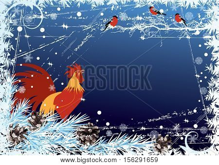 vector New Year 2017 background with rooster and bullfinch