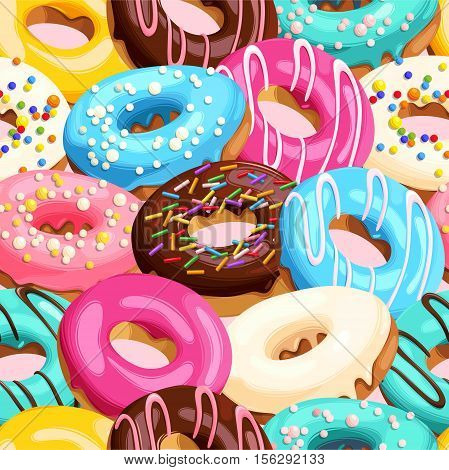 Colorful glazed donuts with confectionery sprinkling vector seamless background poster