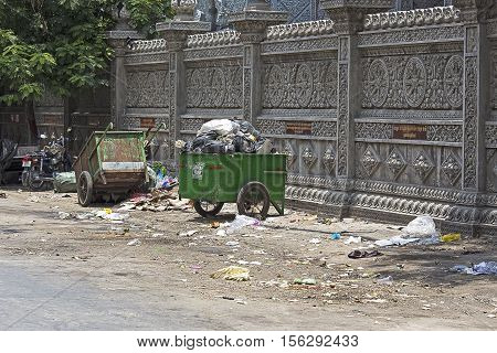 Carts Full Of Trash In The Street Of Phnom Penh