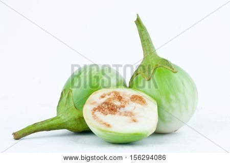 thai eggplant or Yellow berried nightshade on white background eggplant aubergine  vegetable isolated