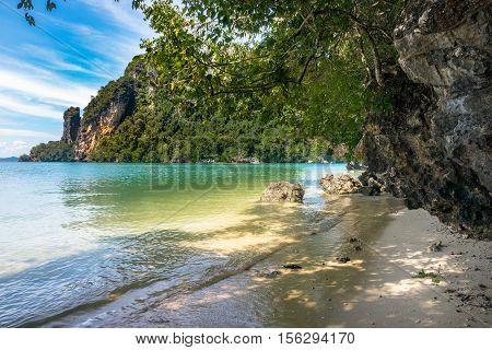 Island at Krabi in Thailand tropical beach at Tup Island
