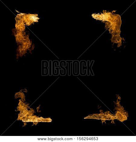 High resolution fire collection isolated on black background . Fire frame.