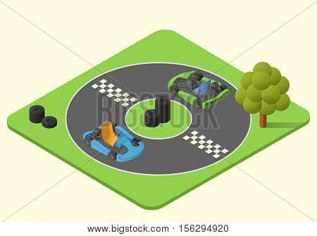 kart sport car vector isometric illustration. karting race lap picture