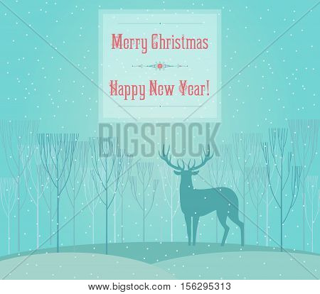 Christmas deer. Merry Christmas and Happy New Year card with deer in fog forest. Deer decorative silhouette