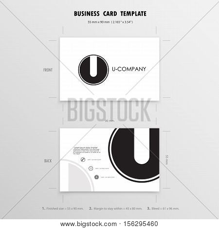 Business Cards Design Template. Name Cards Symbol. Size 55 mm x 90 mm (2.165 in x 3.54 in).Vector illustration