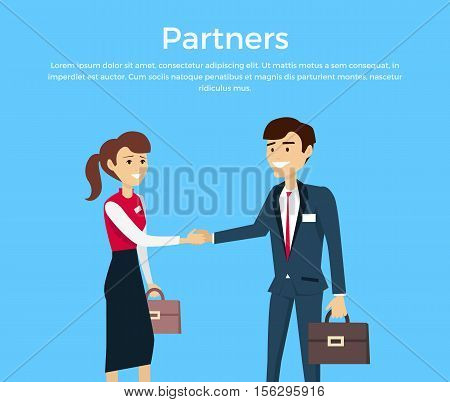 Partners concept vector. Flat style design. Relations of partnership. Smiling man and woman in business suits with cases shaking their hands. Illustration for start-up, company web page design.