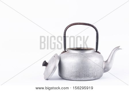 old vintage retro Kettle on white background drink isolated (front view). Which, kettle made of aluminum materials.