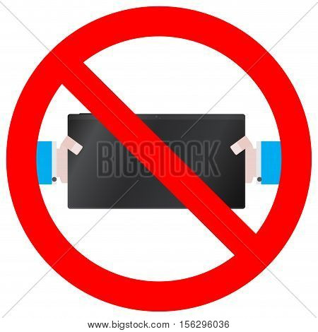 Play and use tablet ban. No playing and not game vector illustration