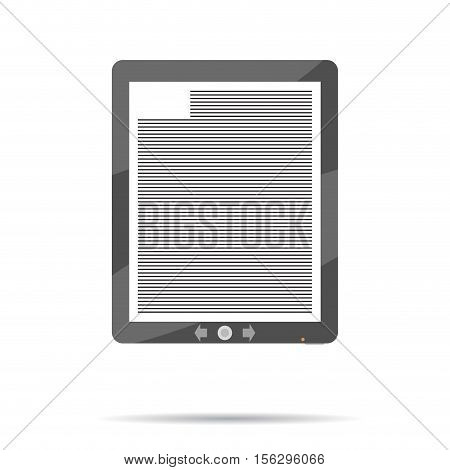 eBook icon flat. Book ereader ebook reader tablet vector illustration