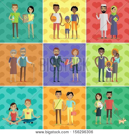 People of the world vector concept in flat design. Collection of couples with children. Peoples of all ages and human races in national clothes, different poses and variety professions. Vector
