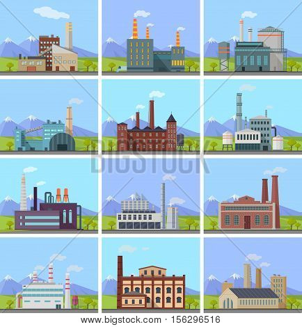 Set of factory building banners. Factory building with pipes on nature mountain landscape. Industrial plant with pipes. Plant with smoking chimneys. Ecological production, air pollution concept