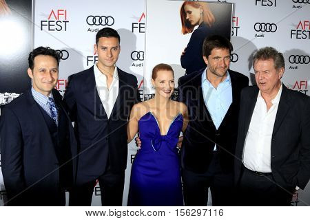 LOS ANGELES - NOV 11:  Raoul Bhaneja, Johnny Perera, Jessica Chastain, Kris Thykier, John Madden at the
