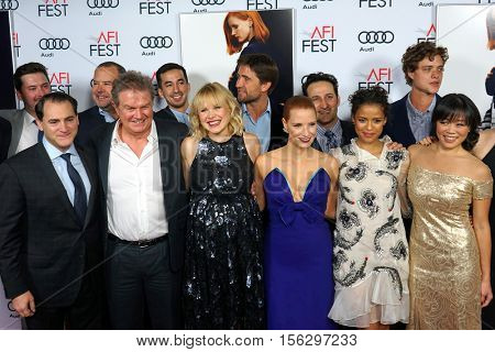 LOS ANGELES - NOV 11:  Miss Sloane, cast, crew, Jessica Chastain at the