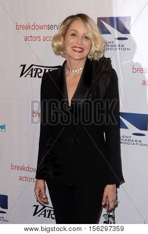 LOS ANGELES - NOV 10:  Sharon Stone at the 2016 TMA Heller Awards at Beverly Hilton Hotel on November 10, 2016 in Beverly Hills, CA