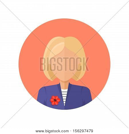 Stylish young woman avatar or userpic in flat cartoon design. Elegant lady in blue jacket. Close up portrait isolated. Part of series of diverse avatars without facial features. Vector illustration.