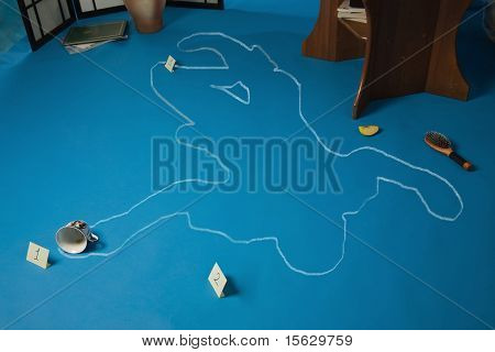 Crime Scene With The Silhouette Of The Victim