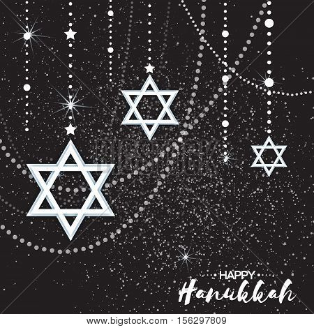 Origami Star of David. Happy Hanukkah. Shining papercraft stars. Greeting card for the Jewish holiday on black background. Vector illustration.