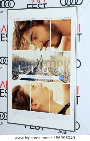LOS ANGELES - NOV 11:  Lion Poster at the LION AFI Fest Premiere at TCL Chinese 6 Theaters on November 11, 2016 in Los Angeles, CA