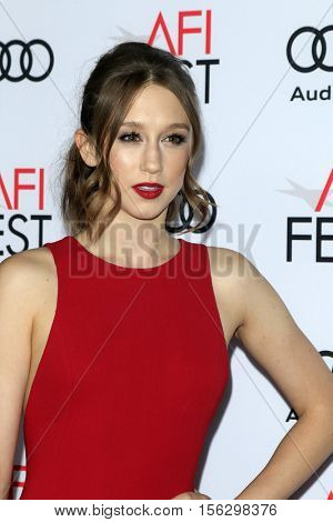 LOS ANGELES - NOV 10:  Taissa Farmiga at the AFI FEST 2016 - Opening Night - Premiere Of 20th Century Fox's 'Rules Don't Apply' at TCL Chinese Theater on November 10, 2016 in Los Angeles, CA