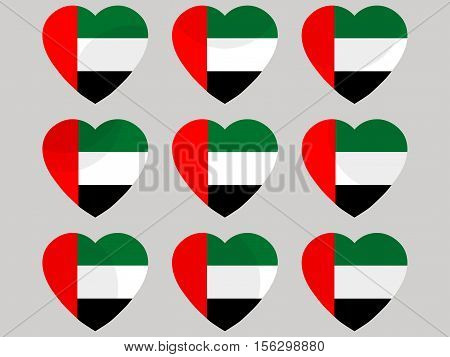 Heart With The Flag Of United Arab Emirates. I Love The United Arab Emirates. United Arab Emirates F