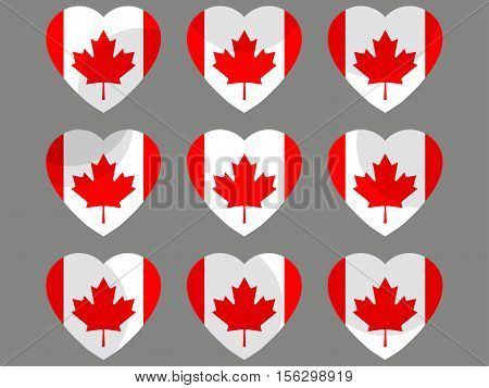 Hearts With The Flag Of Canada. I Love The Canada. Canada Flag Icon Set. Vector Illustration.