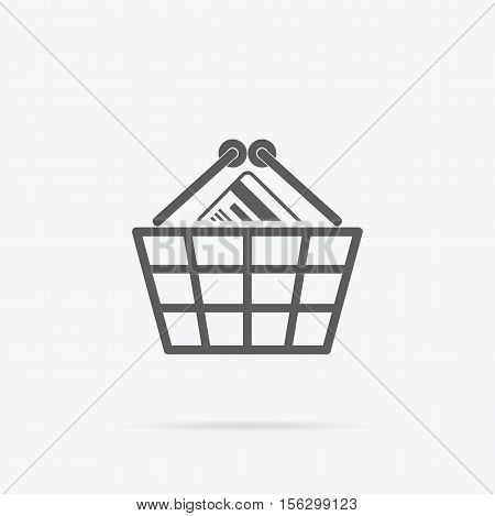 Simple shopping basket icon. Grey line pictogram plastic or steel basket with credit card inside and shadow under it . Vector illustration for shopping services, applications icons, logo design.