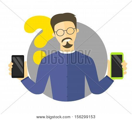 Mobile selection flat design illustration isolated vector sign synchronization icon