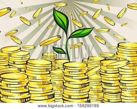 Golden money stacks with green sprout of wealth tree. Gold coins. Retro vector illustration of the shining wealth. Pop art treasure image.