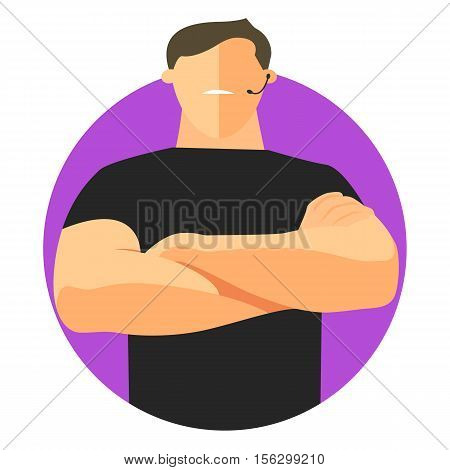 Sequrity sign safety icon flat design. Security guard with crossed hands. Vector illustration