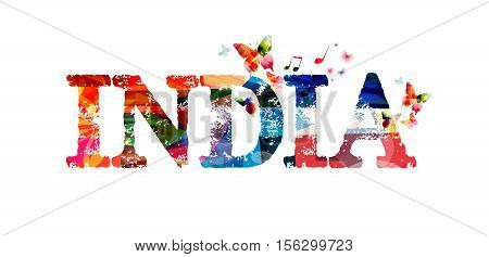 India typographic vector illustration background. India lettering vector. Colorful India inscription with butterflies. India text design isolated. India travel poster. Calligraphic vector design