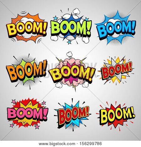 Comic speech bubbles set, boom word vintage magazine design