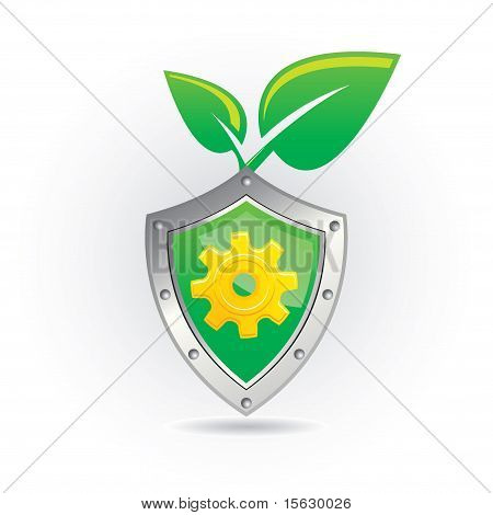 Shield With Leaf  Icon
