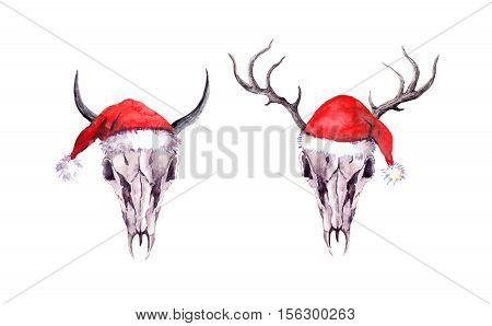 Deer and bull animal skulls in red santa hats. Christmas watercolor in boho or grunge style