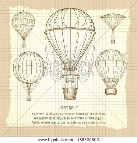 Hand drawn hot air balloons vintage poster design. Vecto illustration