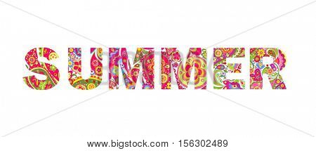 Flowers print with summer lettering