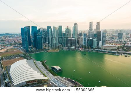 Singapore City Skyline Marina Bay At Sunset