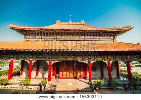Pagoda Of Chinese New Year At Thai-chinese Temple, Dragon Temple Kammalawat (wat Leng Nei Yi)