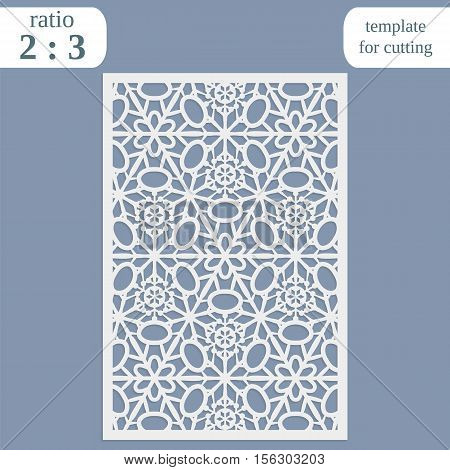 Laser cut wedding card template paper openwork greeting card template for cutting lace invitation lasercut metal panel wood carving greetings for Christmas or New Year vector illustration