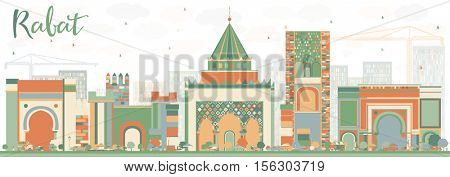 Abstract Rabat Skyline with Color Buildings. Vector Illustration. Business Travel and Tourism Concept with Historic Architecture. Image for Presentation Banner Placard and Web Site.