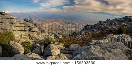 Mountain view from El Torcal de Antequera fascinating mountain rock formations in southern Spain