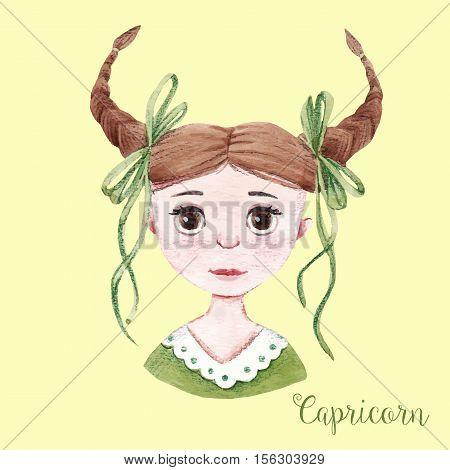 Beautiful watercolor hand drawn girl as a symbol of horoscope sign capricorn