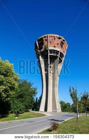 Damaged Water Tower In Vukovar, Croatia