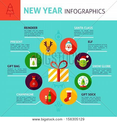 New Year Concept Infographics. Flat Design Vector Illustration of  Merry Christmas Holiday.