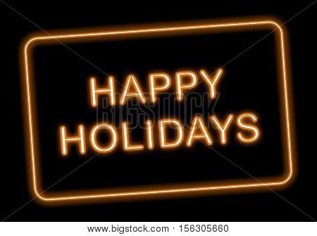 Happy Holidays neon style on dark background