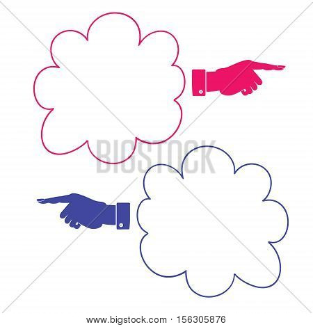 Hand Pointer Right vector icon. Frame is in the form of a cloud for your message.