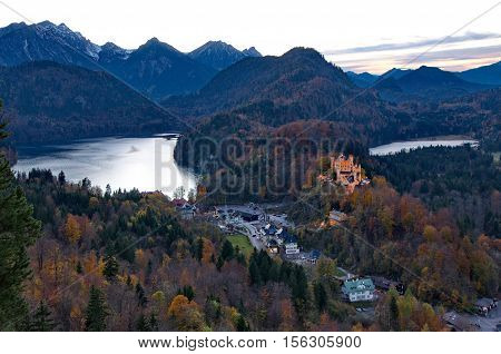 Castle of Hohenschwangau in Germany at autumn