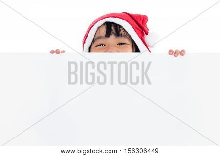 Happy Asian Chinese Little Santa Girl Peeking Behind Blank Board
