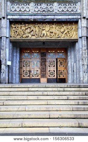 Main entrance of the Oslo City Hall in Oslo Norway