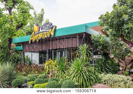 Nakorn Ratchasima THAILAND - Nov 9 : Cafe Amazon beverage shop at PTT Oil station on Nov 9 2016 in Korat THAILAND. It's a famous Thai franchise coffee house in Thailand.