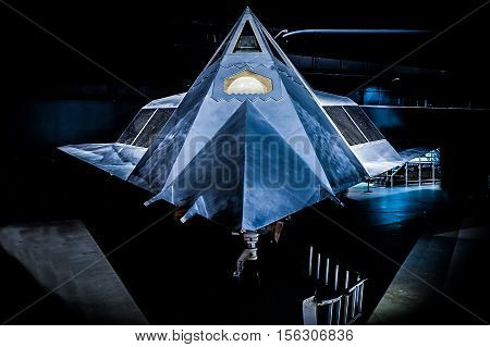 WRIGHT PATTERSON AIR FORCE BASE OHIO USA - JULY 28: USAF F-117 Nighthawk on display on the WRIGHT PATTERSON AIR FORCE BASE AIR FORCE MUSEUM July 28 2016 in WPAFB Dayton Ohio USA